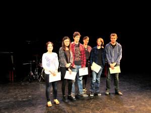 De gauche à droite: Lydie Ducolomb, Anne Elise Perret, Côme Horvat, Chloé Dubreuil, Audrey Gourjon, Antoine Rigaud. Photo: Jean-Alain Roger